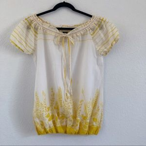 Patagonia yellow and white bubble hem peasant top